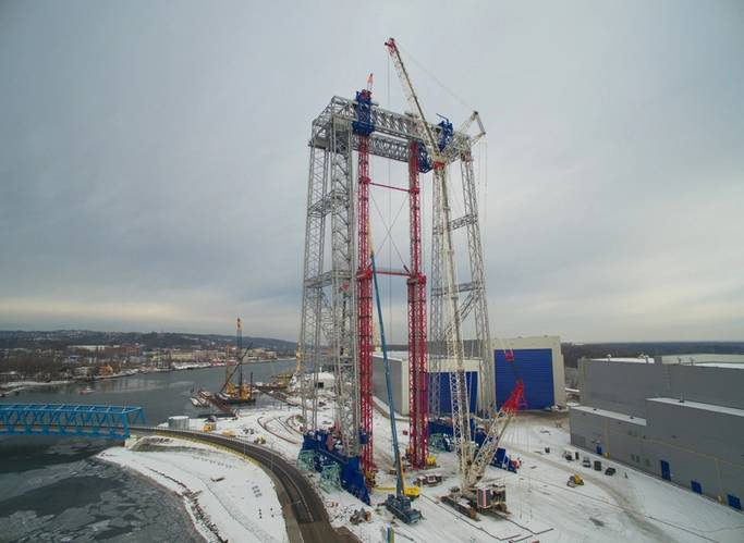 Wheel sets and bracings of Goliath crane are installed, disassembly of the gantry ongoing (Photo: Bilfinger Mars Offshore)