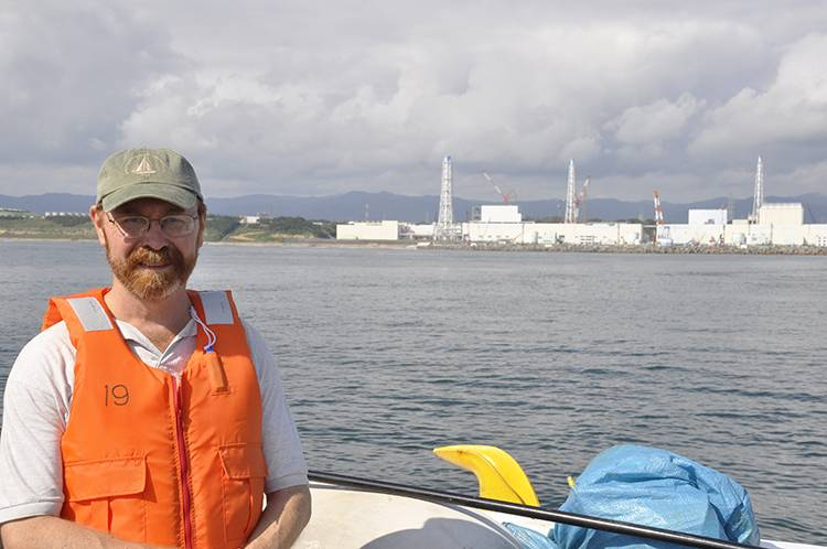 WHOI marine chemist Ken Buesseler, pictured on a research vessel off the coast of Japan in 2013, has been tracking the spread of radionuclides released from Fukushima since 2011. In October, Buesseler and the research team will return to Japan to redeploy more sediment traps. (Photo courtesy of Ken Buesseler)