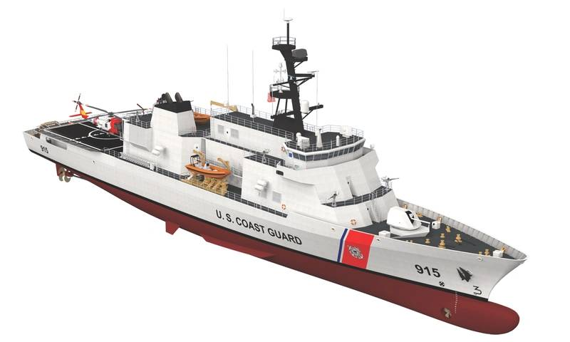 Winning Design: an early drawing of the USCG-select Vard 7 110 from Vard Marine and an updated version from the U.S. Coast Guard. (Image: Vard Holdings)