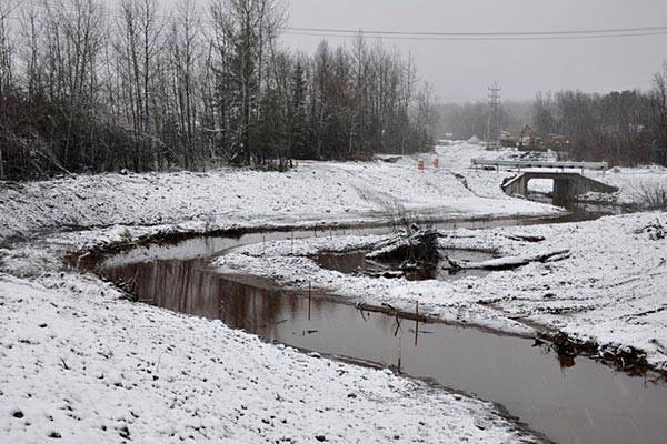 Winter 2013: Completed: New meandering stream and habitat structures. (Photo: EPA)