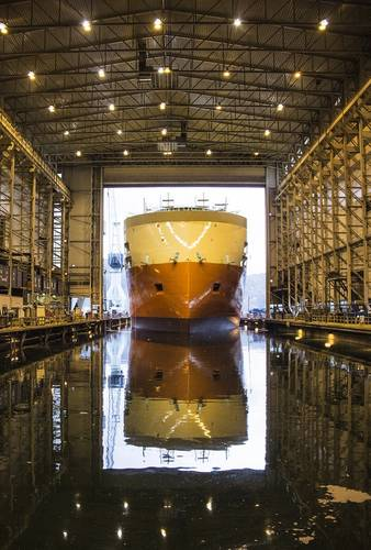 Yno 302 launched from the Ulstein Verft dock hall (Photo: Ulstein)