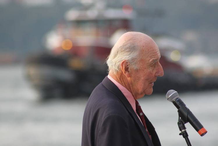 """""""You'll never make it.""""   That was Anthony McAllister's prediction to his son Brian, upon the latter's purchase of the company in 1974. Brian proved his father wrong. Above he addresses a crowd of more than 800 during the company's 150th Anniversary celebration in NYC."""