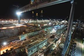 Shipbuilding: Flight Deck Lifted onto US Aircraft Carrier