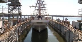 Video: Barque Eagle Refloated in Drydock